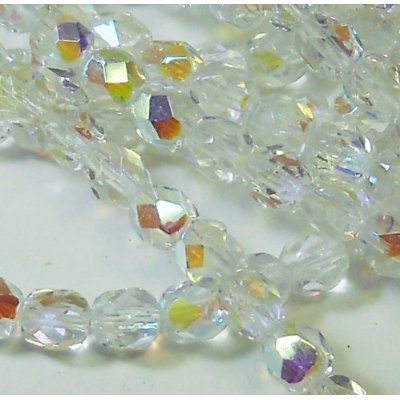 150 Czech 8mm Crystal Clear AB Faceted Round Firepolished Glass Beads 1/8 Mass Fire (Crystal Ab Druk Beads)