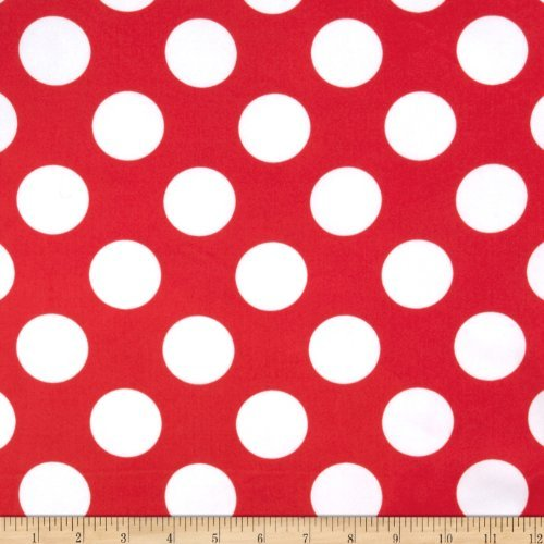 Ben Textiles Charmeuse Satin Large Polka Dots Red/White Fabric by The Yard ()