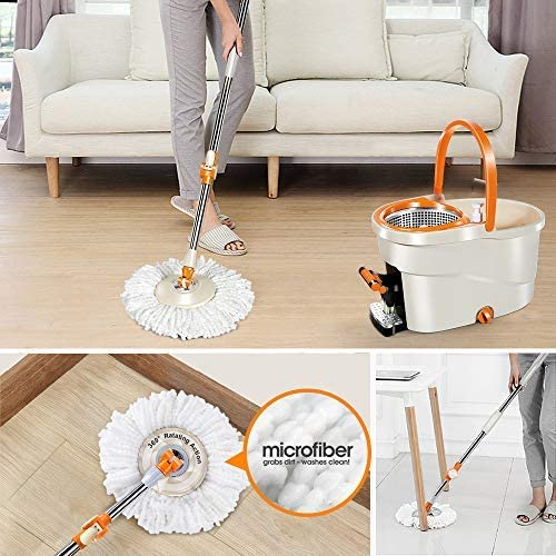 6L Foot Pedal Microfiber Spin Mop with 5 Pcs Microfiber Mop Heads and 5 Cleaning Clothes Stainless Steel Bucket and Telescopic Pole Orange