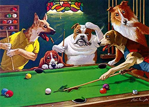 - Reproduction of Vintage Classic Dogs Playing Billiards Rip The Cloth! On 8 x 10 inch Metal Man cave