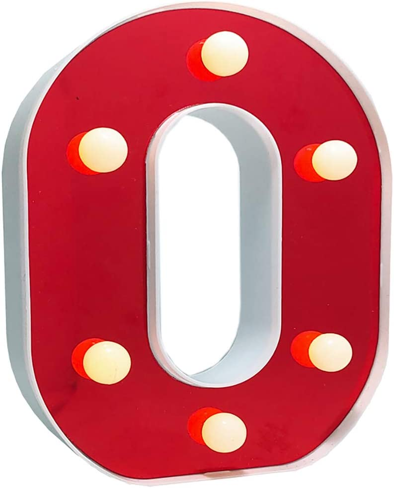 LED Marquee Letter Lights 26 Alphabet Light Up Red Letters Sign Battery Powered Perfect for Night Light Wedding Birthday Party Christmas Lamp Home Bar Decoration(O)