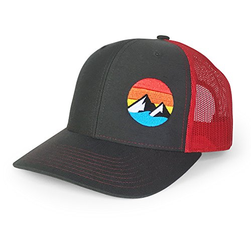 WUE Explore The Outdoors Trucker Hat - (Charcoal/Red)