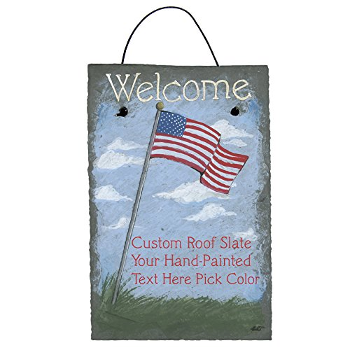 Cohas Personalized US Flag on pole, Hand-painted on 12x8 Inch Slate Roof Tile 'Welcome' or 'In Memory' with Choice of Hand-painted (Hand Painted Field Tile)