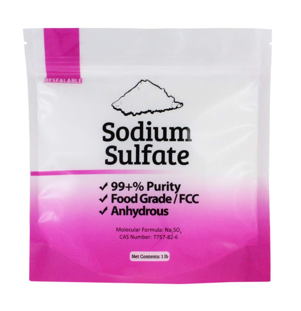 Duda Energy 1ssf Natural Sodium Sulfate Food Grade FCC 99+% Granular Anhydrous Crystals Salt Made in USA, 1 lb.