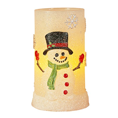 Greluna Snowman Flameless LED Candles with Timer, Battery Operated Candles for Holiday Decorations and Gift