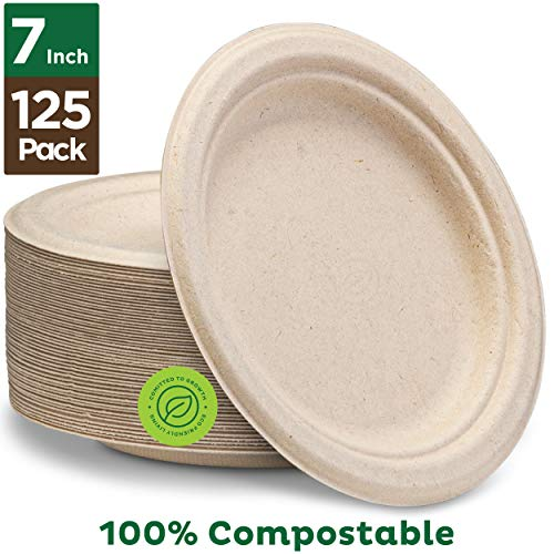 "Stack Man 100% Compostable 7"" Paper Plates [125-Pack] Heavy-Duty Quality Natural Disposable Bagasse, Eco-Friendly Made of Sugar Cane Fibers, 7 inch, Brown"