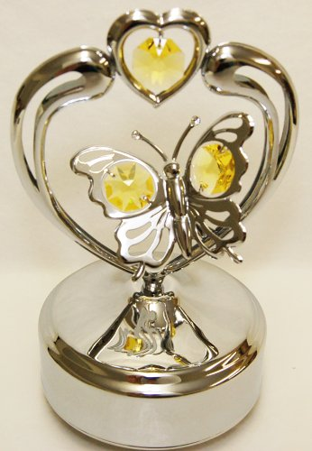Chrome Butterfly in Heart Music Box - Yellow Swarovski Crystal ()