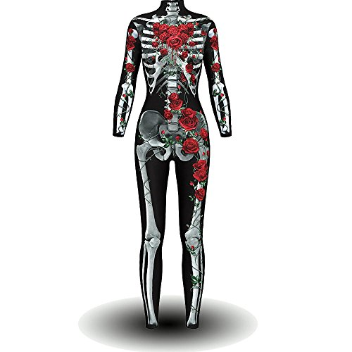 BOMBAX Women Skeleton Halloween Costume Bodysuit Cop Cosplay