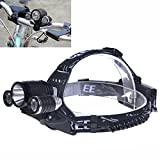 Aidisun 2in1 3 LED Headlamp 5000 lm Waterproof Headlights can be Used as a Head lamp or Bicycle Light Tactical Helmet Light 90 Degree Adjustable with Rechargeable Batteries for Hunting Fishing Riding