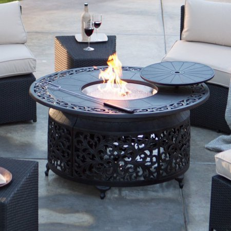 Fire Pit Red Ember San Miguel Cast Aluminum 48 in. Round Gas Fire Pit Chat (Aluminum 48