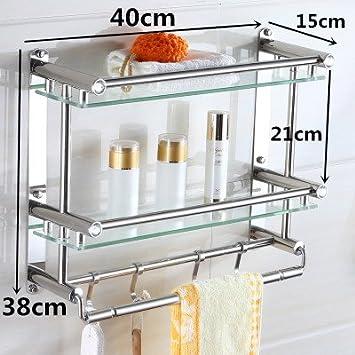 RUGAI-UE Toallas de baño de Acero Inoxidable 304 para Colgar en la Pared de Vidrio WC estantería,40cm,Doble Vidrio Transparente: Amazon.es: Hogar