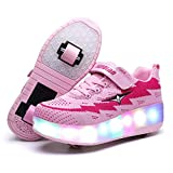 AIkuass Roller Shoes Boys Girls USB Charge LED Light Up Sneaker Kids Wheeled Skate Shoe (3.5 M US Big Kid, 2- Pink- Double Wheels)