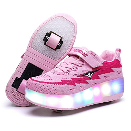 1 Two Pack - Nsasy YComi Boys Girls Rechargeable Roller Shoes Colourful USB Charging Roller Skates Shoes LED Light Shoes