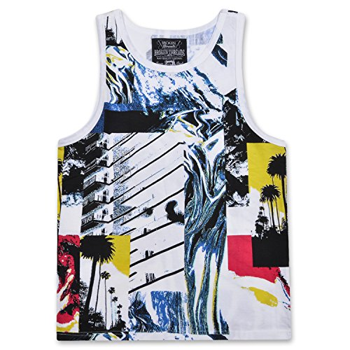 Broken Threads Men's Sleeveless Crewneck Fashion Abstract Print Tank Top T-Shirt White/Multi...
