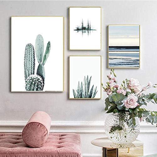 緑の風景サボテンポスタージューシーガーデンウォールアート写真リビングルームの装飾-40x60cmx2 20x30cmx2個枠なし