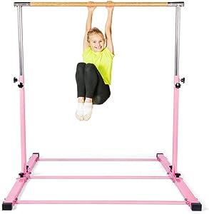 SHIWEI Gymnastics Training Bar- Height Adjustable 3' to 5' Horizontal Kip Bar for Kids