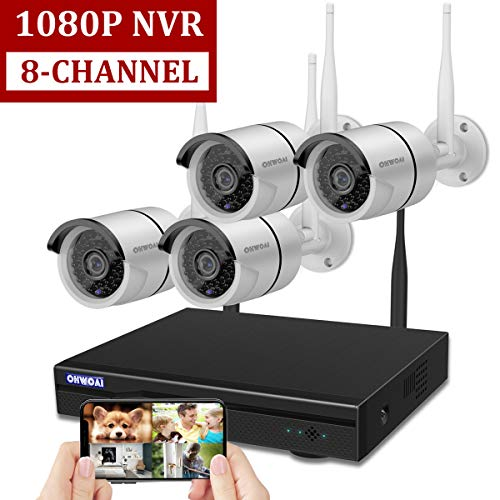 Wireless 8-Channel 1080P Security Camera System with 4pcs 720P Full HD Cameras,Home CCTV Surveillance System,Indoors Outdoors IP Cameras 8CH House WiFi NVR Recorder,No Hard Disk Drive.