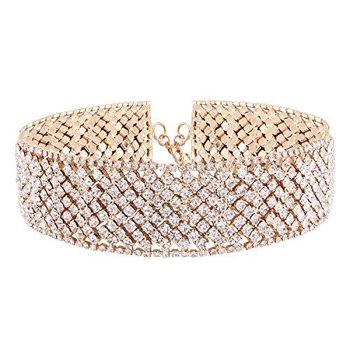 Croozy Womens Luxury Rhinestone Choker Girls Crystal Choker Necklace Bride Collar Party Choker Necklace - Gold Rhinestone Necklace