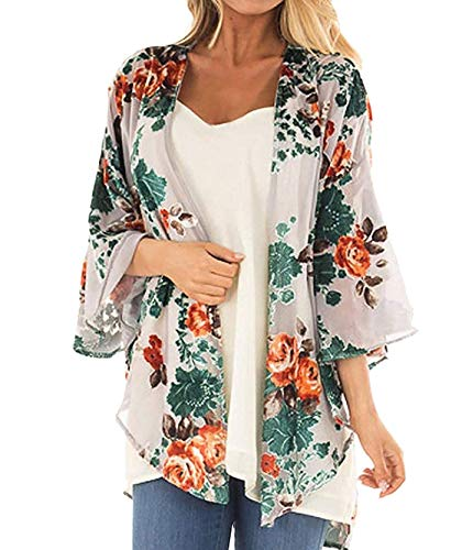 Women's Chiffon Kimono, Floral Print Cardigan, Sheer Loose Cover Up Casual Blouse Half Sleeve Tops (B41-apricot, Medium) ()