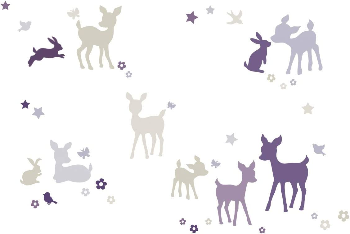 Wall Decal and Stickers for Children Self-Adhesive Wall Border Stickers lovely label Wallpaper Border for Kids Deer /& Bunny Stickers for Childrens Playroom or Bedroom in Purple-Grey-Beige