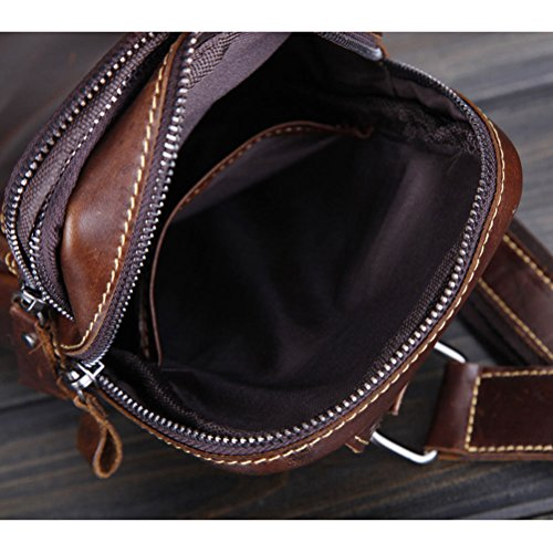 Zhuhaitf alta calidad Mens Lightweight Durable First Layer Cowhide Shoulder Chest Bag Small Packet