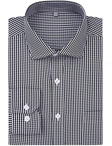 White Check Plaid Black Flannel (DOKKIA Men's Formal Business Long Sleeve Plaid Striped Poplin Dress Shirt (US L=Label XL, Black White Check))