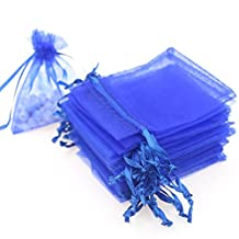 """Dealglad 50pcs Drawstring Organza Jewelry Candy Pouch Christmas Wedding Party Favor Gift Bags (5x7"""", Royal Blue)"""