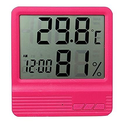 SODIAL Termometro Digital LCD Higrometro Reloj higrometro electronico Estacion meteorologica (Azul)
