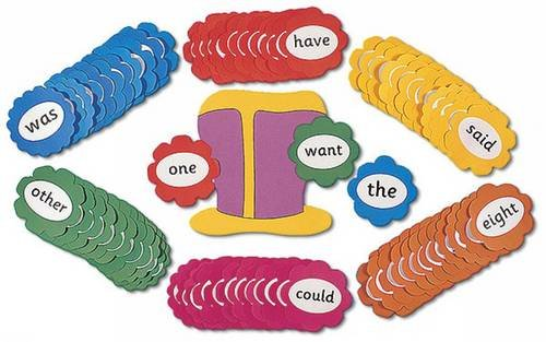 Jolly Phonics Tricky Word Wall Flowers: In Precursive Letters