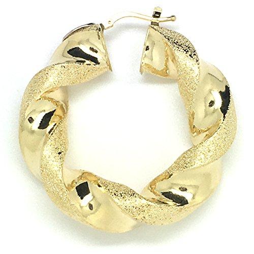 Boucles d'oreilles créoles torsadées en or 18ct/750Or jaune Diamant iert ternit (Diamètre 10x 40mm)