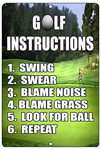 - Rogue River Tactical Funny Golf Instructions Metal Tin Sign Golf Wall Decor Man Cave Bar Golfer Ball
