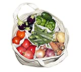 Storite Multi Pocket Vegetable/Grocery Cotton Bag with Military Pouch for Systematic Storage (18 x 14inch, White)