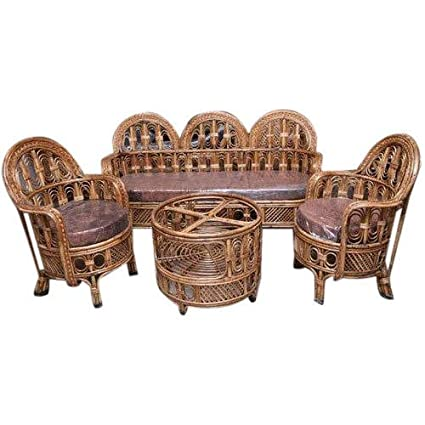 Awe Inspiring Hm Service 3 1 1 Bamboo Cane Sofa Set With Table Brown Andrewgaddart Wooden Chair Designs For Living Room Andrewgaddartcom