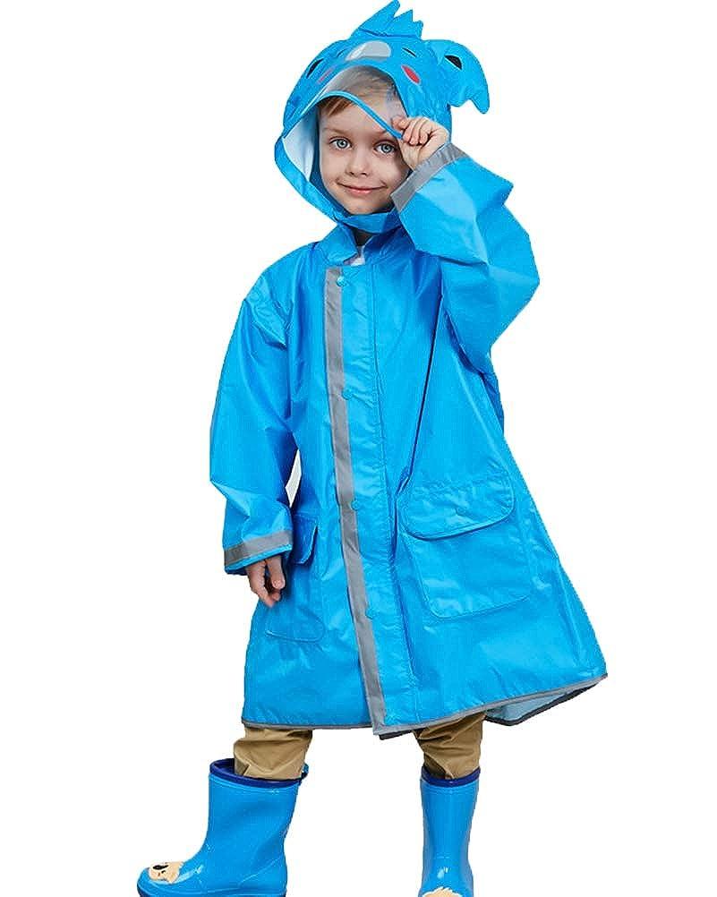 Suncaya Bambino impermeabile con cappuccio giacca da pioggia con striscie riflettenti per bambini e bambine