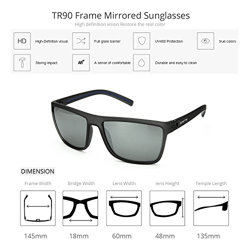 Men Silver Glasses Polarized Mirrored Cool Lens Frame Gray C3 ZENOTTIC Square Sunglasses 60mm dqXHdvwxf