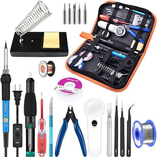 Soldering Iron Kit Electronics, 21-in-1, 60W Adjustable Temperature Soldering Iron, 5pcs Soldering Iron Tips, Soldering Iron Stand, Desoldering Pump, Magnifier, Solder Wire, Tweezer, PU Carry Bag