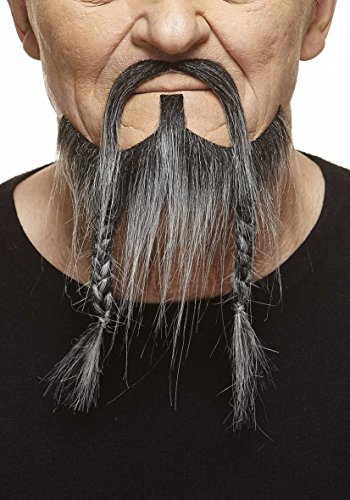 [Braided Pirate salt and pepper fake beard and mustache, self adhesive] (False Beards And Moustaches)