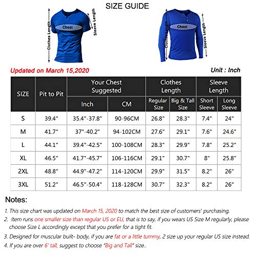 Muscle Alive Mens Summer Casual Short Sleeve Henleys T-Shirt Single Button Placket Plain v Neck Shirts
