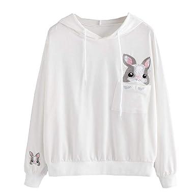 MEIbax Oto?o Mujeres Casual Color de la Mujer de Manga Larga Sudadera con Capucha Sudadera con Capucha Conejo Jersey Jumper t-Shirts Personalizar Camiseta ...
