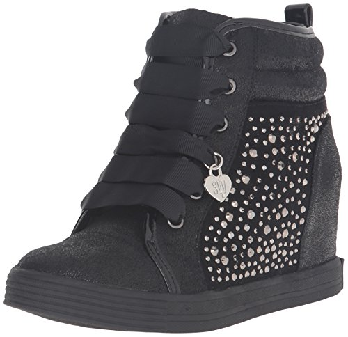 Stuart Weitzman Girls' Vance Rhinestones-K Wedge, Black, 4 M US Big Kid