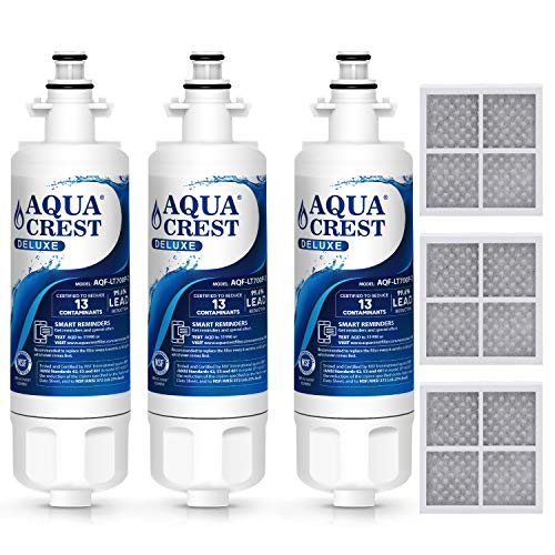 AQUACREST NSF 401, 53&42 ADQ36006101 Refrigerator Water Filter and Air Filter, Compatible with LG LT700P, Kenmore 9690, 46-9690, ADQ36006102 and LT120F (Pack of 3) -