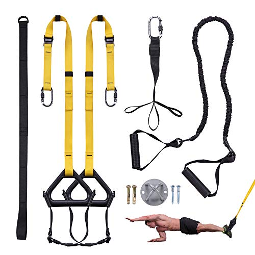 JEMPET Bodyweight Resistance Training Straps Kit,Complete Home Gym Fitness Trainer kit for Full-Body Workout