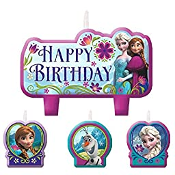 Disney Frozen Birthday Candle Set Assorted Size Party Decoration (4 Pack), Multi Color, .