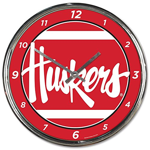 - Wincraft Nebraska Cornhuskers 12 inch Round Wall Clock Chrome Plated