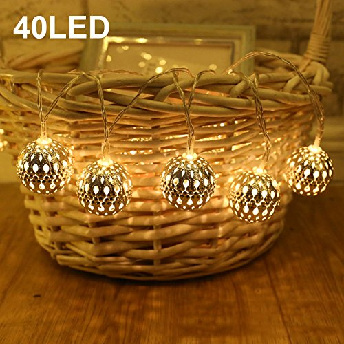 Twinkle Star 13.5 ft 40 LED Globe String Lights Battery Operated for Indoor, Home, Bedroom, Party, Patio, Wedding, Christmas Tree, Warm White