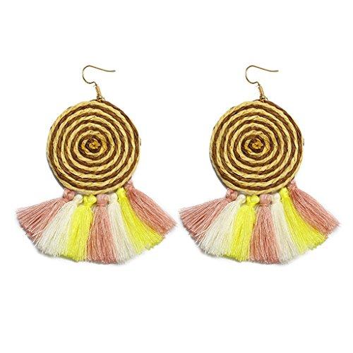 ROWAG Novelty Women Semicircle Fan Shape Tassel Earrings Bohemian Statement Fringe Thread Drop Earrings