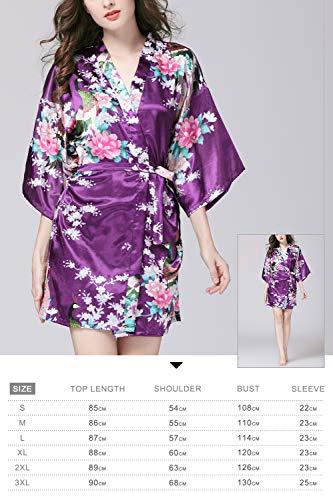Pigiama stile seta di d'onore Accappatoio seta damigella di Donna Robe YAOMEI corto Viola da fiori del Pigiama notte pavone Kimono Vestaglia Sleepwear Raso e CwYR1