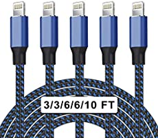 UNEN MFi Certified 5Pack[3/3/6/6/10ft] Nylon Braided iPhone Charger Lightning Cable Fast Charging&Syncing Long Cord...
