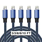 UNEN MFi Certified 5Pack[3/3/6/6/10ft] Nylon Braided iPhone Charger Lightning Cable Fast Charging&Syncing Long Cord…