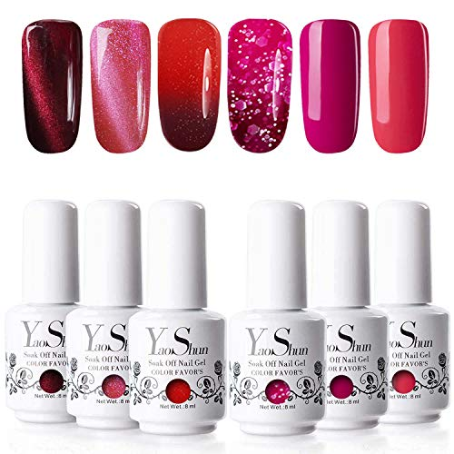 Gel Polish - YaoShun Gel Polish Romantic Red Series UV Gel Polish Magnetic Cat Eye Gel Polish + Temperature Color Changing Gel Polish + Japan Gel Polish with Free Magnet Stick Mix Style #2